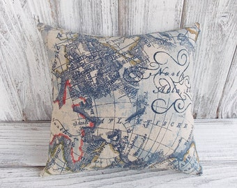 World map pillow cushion for home decor, nautical ship themed linen cushion for home decor