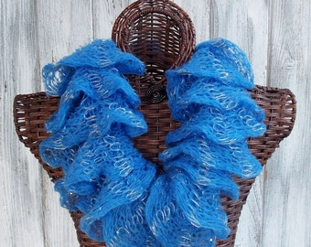 SALE Knitted ruffle cowl in blue with silver metallic and sequins, soft and fluffy fashion accessory