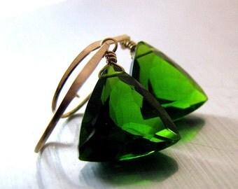 Emerald Green Earrings, Gold Earrings, Green Quartz Earrings, Green Earrings, Sparkly Earrings, Quartz Trillion Earrings - Evergreen