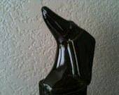 Magma Puppy Dachshund Figurine, Dark Brown Glossy Color -- Art Deco Cubist Style