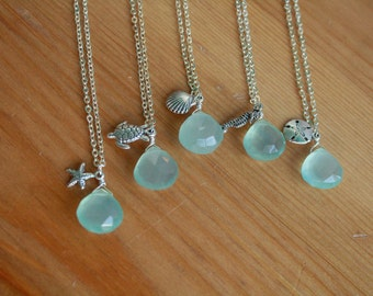 Five Beautiful Necklaces With Ocean Charms and Blue Chalcedony Briolette .. Bridesmaids Beach Wedding