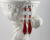 Vintage Assemblage 1920s Dangle Earrings -  RED Flapper Czech Glass Beads - Great Gatsby Style Jewelry by Boutique Bijou