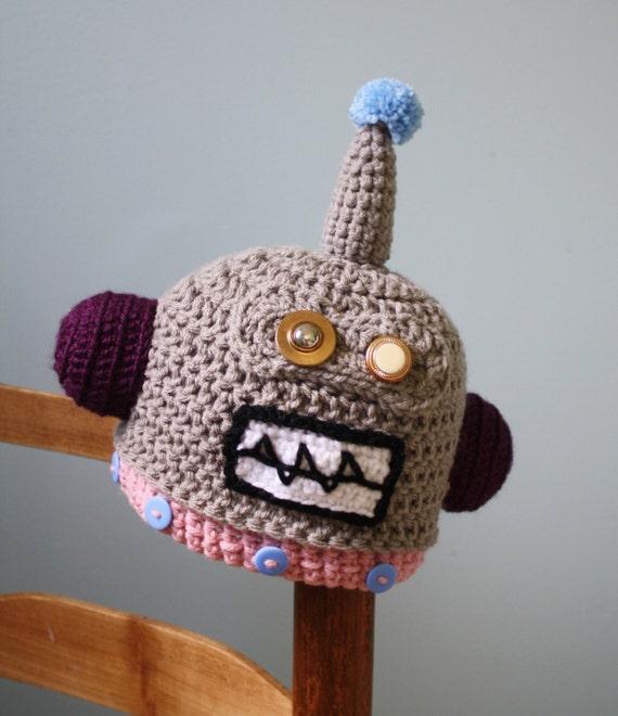 Robot Hat Crochet Beanie Halloween Costume Childrens