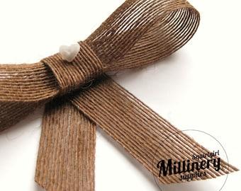 "Vintage Swiss Natural Woven Fiber Brown Crinoline (crin, horsehair braid) 1"" Wide Hat Trim Ribbon 3 Yards"