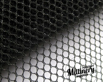 Glitter Mesh Netting Fabric Black 45cm (17.7 Inches) Wide for Fascinators, Millinery & Wedding Craft 1 Metre