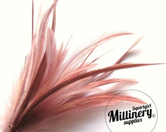 Goose Biot & Hackle Feather Hat Mount Trim for Fascinators, Wedding Bouquets and Hat Making Dusky Pink