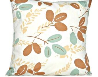 Sale 16.00 Aqua Leaves Pillow Covers Cushion Modern Mocha Beige Decorative Pair 16x16