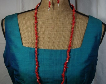AAA  Orange Coral Gemstone Chips,.925 Silver Necklace and Earrings
