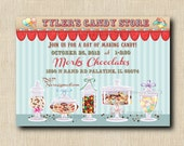 PERSONALIZED CANDY STORE - Chocolate Store Invitations 12 printed cards