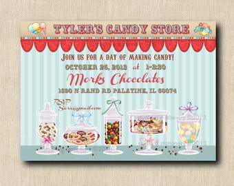 Personalized Candy Store - Chocolate Store Invitations DIY DIGITAL PRINTABLE