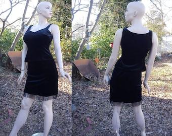 Sale 30% OFF Little Black Dress, Vintage Skirt, 80s Skirt & Vintage Shirt Set by Cache with Seed Pearls and Fringe, 80s Dress, Vintage Dress