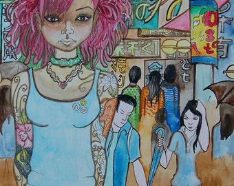 Girl downtown