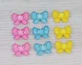 14mm x 18mm  Faceted Glitter Bow Resin Cabochon,  9 Pieces, Mix Colour, Pink, Yellow, Ocean Blue, Flat Back Glue On Kawaii Embellishment