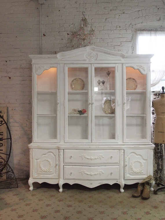 painted cottage chic shabby white romantic french china. Black Bedroom Furniture Sets. Home Design Ideas