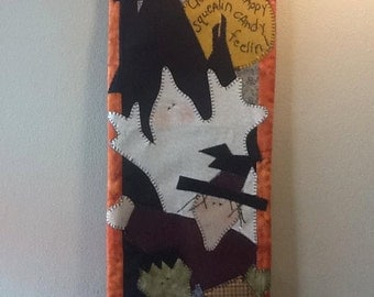 Appliqué Halloween Wallhanging, Halloween Decor, Witch, Ghost, Frankenstein Wallhanging, Haunted House