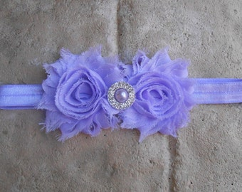 Lavender shabby flowers with pearl rhinestone center on a matching headband newborn-toddler-girls