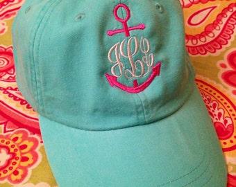 Ladies Monogrammed anchor baseball cap. Embroidered. Choose hat/thread color.Mom, Bride, summer, beach, nautical