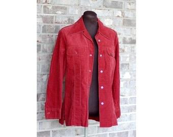 1970s western jacket, corduroy jacket, western jacket with snaps, Lady Lee, Vintage Lee jacket, corduroy shirt jacket, Size M