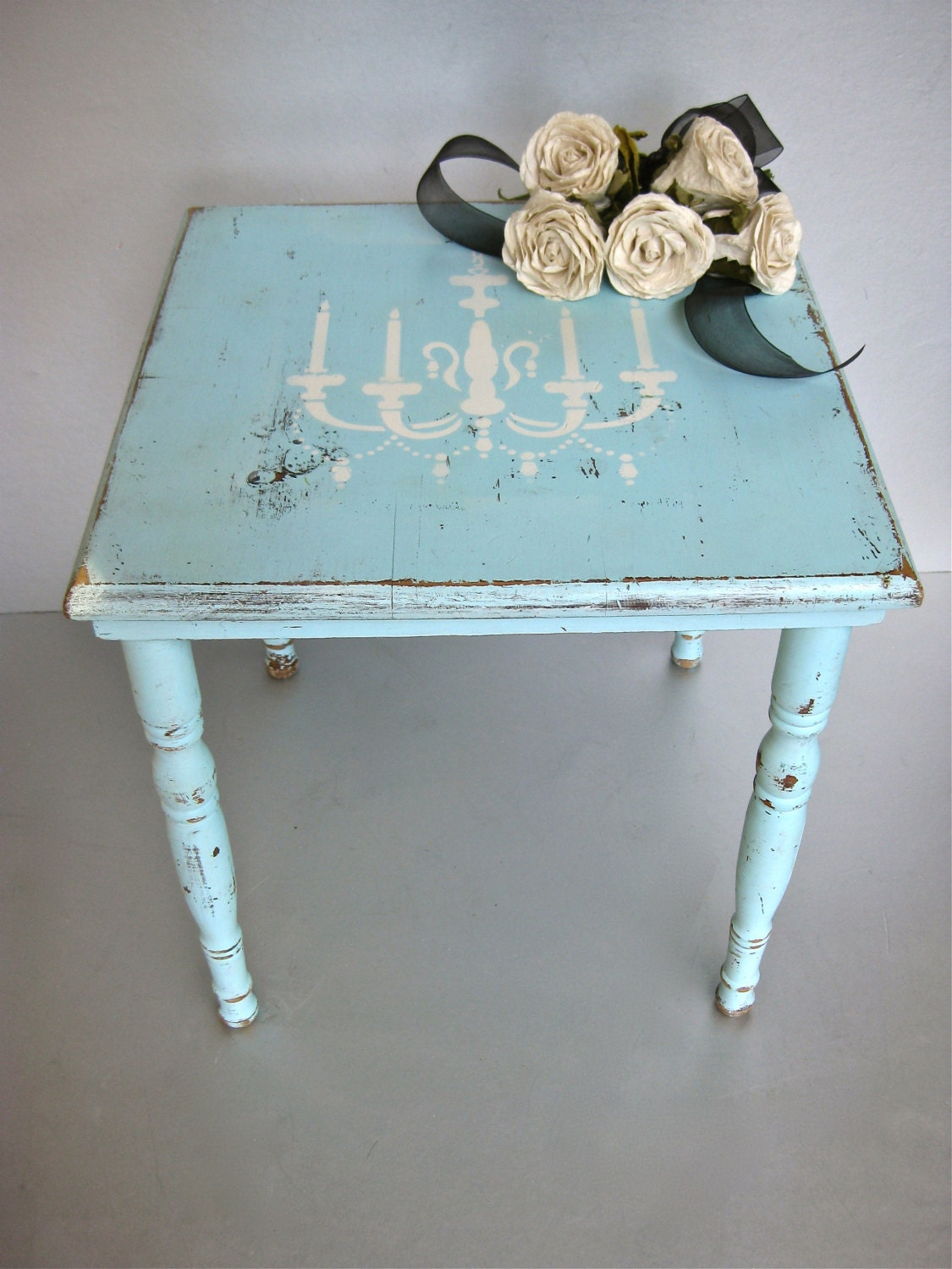 Shabby Chic Table Side Table Chandelier Aqua by Swede13Cottage
