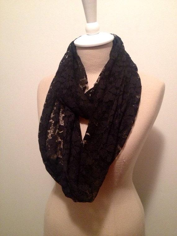 Black Lace Knit Infinity Scarf