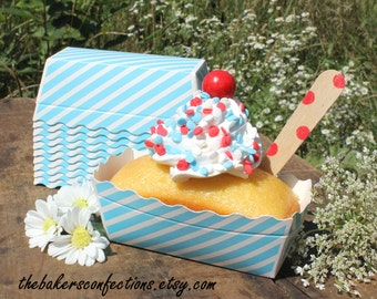 MINI Blue Loaf Baking Pans, Blue Stripe Mini Loaf Pans, Tiny Candy Cups, Mini Dessert Loaf Pans, Mini Paper Loaf Pans, Disposable (24 ct)