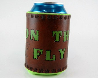 Leather Fly Fishing Can Holder Trout Made to Order Custom Leather Can Cooler Hand Tooled Leather Can Chiller Insulated Beverage Holder