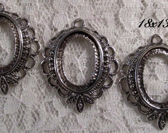 "18x13mm Antique Silver Setting - ""Sweet n' Petite"" - 3pcs : sku 07.04.13.3 - U15"