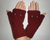 Hand-knitted burgundy color wrist warmers with knitted owl