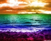 Ocean beach rainbow art photograph, sunset mountains sea, modern nautical art, surreal paradise landscape