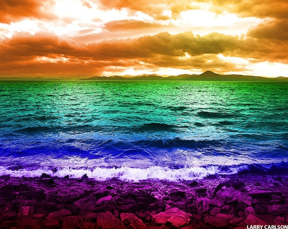 Ocean beach rainbow art photograph, sunset mountains sea, modern nautical art, surreal paradise landscape