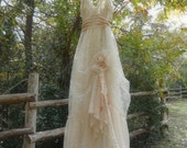 """Made to Order....""""Jenny"""" Rustic   Beach  Shabby French Champagne  Blush Tea Ivory Cream Vintage Inspired  Wedding Dress Altered Slip"""