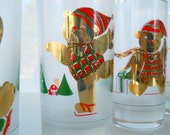 Vintage Culver Yule Bears Set of Four Highball Glasses