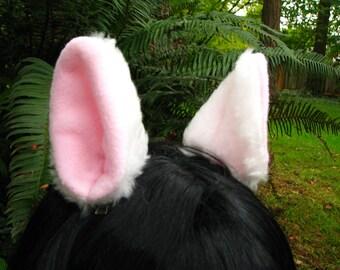 Cat Ear Clips - White Cream Kitty Cat Animal Hair Clips by Ningen Headwear