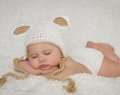 Crocheted Baby White/tan Easter Lamb Hat and Diaper Cover set