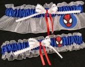 Personalized Spiderman Superhero Wedding Keepsake Garter Set
