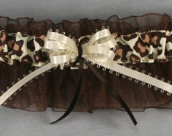 Personalized Brown Leopard Print Bridal Garter