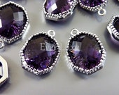2 large amethyst purple octagonal shape faceted glass charms for making earrings bracelets necklaces 5093R-AM (silver, amethyst, 2 pcs)