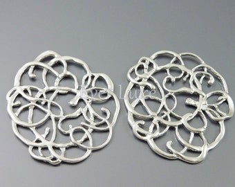 2 Lace pendants, abstract filigree pendants for jewelry making, matte silver brass / do it yourself supplies 1222-MR