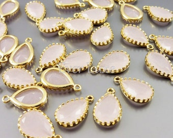 2 pink ice 12mm glass unique teardrop charms, glass stones in gold setting, jewelry 5049G-PI-12 (bright gold, pink ice, 12mm, 2 pieces)