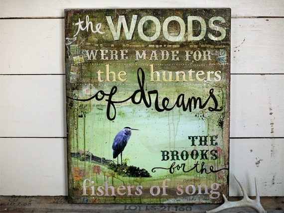 """The Woods - 20"""" x 24"""" original mixed media painting - inspirational nature artwork, green olive word art typography art"""