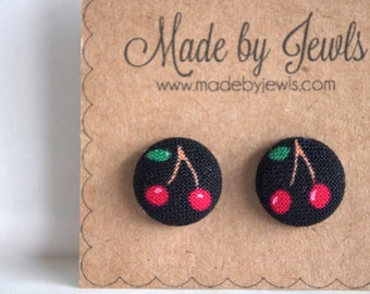 Fabric Button Earrings - Cherry Crush - Buy 3, get 1 free