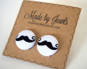 Fabric Button Earrings - Sweet Stache - Buy 3, get the 4th FREE