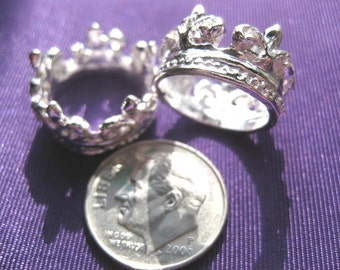 Crown Charm 2 pieces Tibetan Silver Jewelry Supply full circle crown