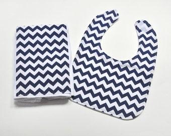 Baby Bib Burp Cloth, Baby Easter Gift, Baby Accessories, Bib Set, Burpcloth, Navy Chevron Baby Gift Idea