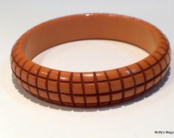 Sale Butterscotch Bakelite Bangle Bracelet Hatch Carving Dramatic