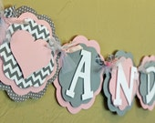 Heart Light Baby Pink Gray Chevron Stripe Polka Dot Name or Its A Girl Banner Baby Shower Birthday Party Decorations Wedding Love Valentine