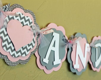 Heart Light Baby Pink Gray Chevron Stripe Polka Dot Name or It's A Girl Banner Shower Birthday Party Decoration Love Valentine PaisleyGreer