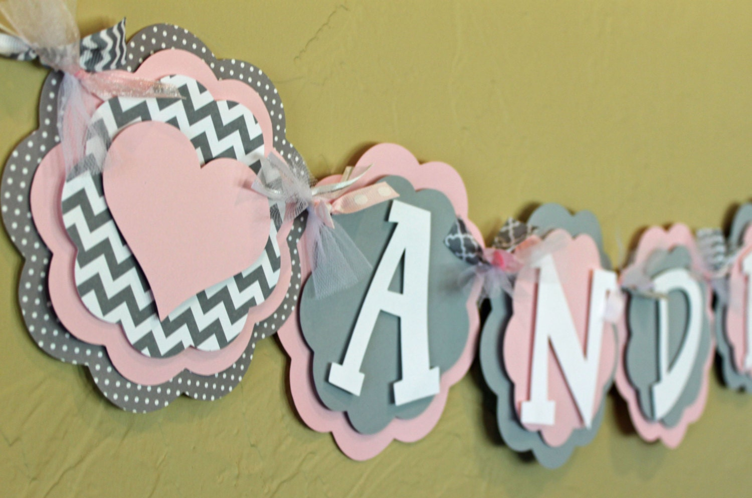 heart light baby pink gray chevron stripe polka dot name or