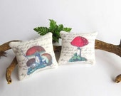 Dollhouse Shabby chic mushrooms cushions in 1/12 scale