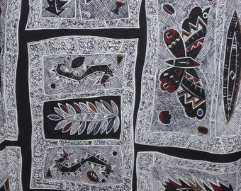 """Vintage 1980s Cotton Fabric- 2 Yards -""""Aborigines"""" by Hoffman of California -Black and White Abstract Fabric"""